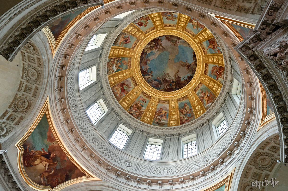 The interior of the chapel dome in Les Invalides